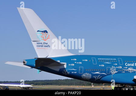 HIFLY AIRBUS A380 IN 'Save The Coral Reefs' livery. - Stock Photo