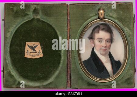 Portrait of a Gentleman. Artist: George Catlin (1796-1872). Dimensions: 2 3/8 x 1 7/8 in. (6 x 4.8 cm). Date: 1827. Museum: Metropolitan Museum of Art, New York, USA. - Stock Photo