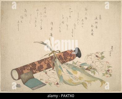 Still Life: Double Cherry-Blossom Branch, Telescope, Sweet Fish, and Tissue Case. Artist: Katsushika Hokusai (Japanese, Tokyo (Edo) 1760-1849 Tokyo (Edo)). Culture: Japan. Dimensions: 8 1/8 x 10 11/16 in. (20.6 x 27.1 cm). Date: ca. 1804-13.  The two poems in the upper part of the print were composed by Asakusa-an (1755-1821) and his contemporary Teika-an on the theme of cherry blossoms. In this pleasing composition, the motifs are limited to double cherry blossoms, a telescope, a pair of sweet fish, and a tissue case. The combination of such objects in a pictorial image is mysteriously sugges - Stock Photo