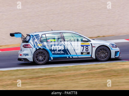 Tim Docker driving the MPS sponsored VW Golf in a recent Britcar event at Donington Park, UK in July 2018 - Stock Photo