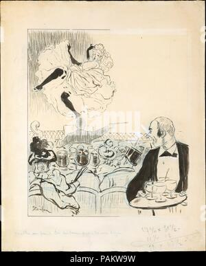 Dancer at a Café Concert. Artist: Théophile-Alexandre Steinlen (French (born Switzerland), Lausanne 1859-1923 Paris). Dimensions: 17 1/16 x 14 1/8 in.  (43.4 x 35.8 cm). Date: 1892-93.  An illustrator and poster artist, Steinlen's flamboyant imagery of the café concert invites comparison with Henri de Toulouse-Lautrec, his neighbor in Paris.  Steinlen was the principal illustrator of Le Mirliton, a journal published by Aristide Bruant, the owner of a cabaret by the same title.  Steinlen made this drawing as a cover design for the 17 February 1893 issue of the journal, to illustrate the song 'T - Stock Photo