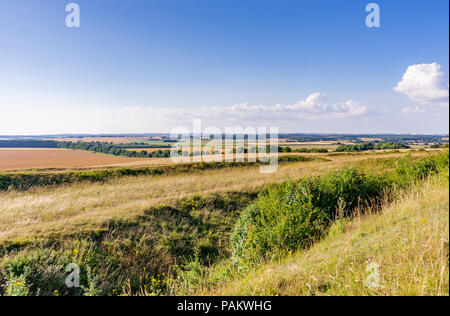 Scenic views from Badbury Rings during July 2018 - an Iron Age hill fort in east Dorset, England, UK - Stock Photo
