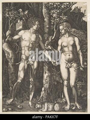 Adam and Eve. Artist: After Albrecht Dürer (German, Nuremberg 1471-1528 Nuremberg). Dimensions: Sheet: 9 1/2 × 7 7/16 in. (24.2 × 18.9 cm). Date: n.d.. Museum: Metropolitan Museum of Art, New York, USA. - Stock Photo