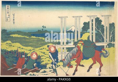 Senju in Musashi Province (Bushu Senju), from the series Thirty-six Views of Mount Fuji (Fugaku sanjurokkei). Artist: Katsushika Hokusai (Japanese, Tokyo (Edo) 1760-1849 Tokyo (Edo)). Culture: Japan. Dimensions: 9 5/8 x 15 in. (24.4 x 38.1 cm). Date: ca. 1830-32. Artwork also known as: 36 ANSICHTEN DES FUJI. Museum: Metropolitan Museum of Art, New York, USA. - Stock Photo