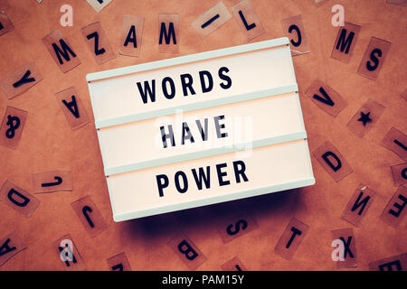 Words have power concept with letters and lightbox - Stock Photo