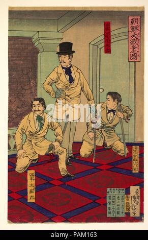 Illustration of the Great Korean War (Chosen dai senso no zu). Artist: Kobayashi Kiyochika (Japanese, 1847-1915). Culture: Japan. Dimensions: 14 1/8 x 9 in. (35.9 x 22.9 cm). Date: August, 1882. Museum: Metropolitan Museum of Art, New York, USA. - Stock Photo