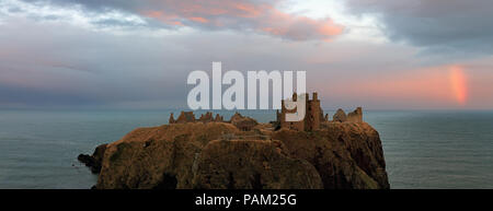 Rainbow By Dunnottar Castle In Panorama - Stock Photo