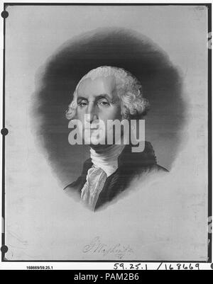 President George Washington. Artist: Probably after an engraving by James Heath (after the Lansdowne portrait by Gilbert Stuart). Culture: French, Lyons. Dimensions: H. 22 3/4 x W. 18 inches (57.8 x 45.7 cm). Manufactory: Mathevon et Bouvard. Date: 1893. Museum: Metropolitan Museum of Art, New York, USA. - Stock Photo
