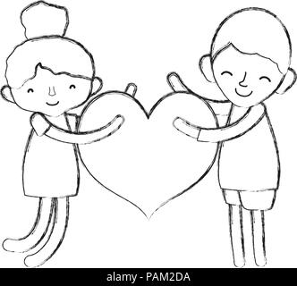 Grunge Boy And Girl Sleeping With Heart And Standing Stock Vector