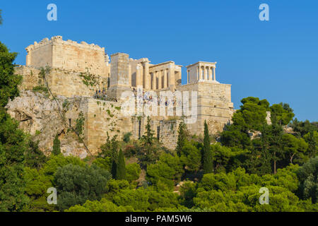 Acropolis view from Areopagus hill, Athens, Greece - Stock Photo