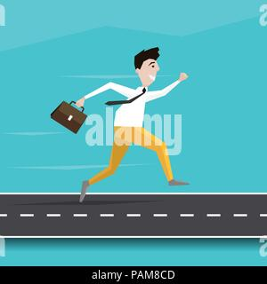 Businessman Running on the Road to Success. Young Man Character Running on the Road in Flat Design. Vector EPS 10 - Stock Photo