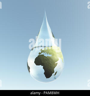 Planet Earth in Water Drop - Stock Photo