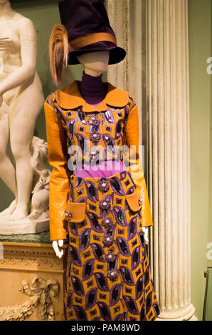 Display of a elaborate embroidered dress from the Luis Vuitton collection autumn winter 2012 at the Catwalk Exhibition at the Bowes Museum 2018 - Stock Photo