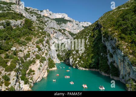 Boating in Gorges du Verdon, Alpes de Haute Provence, France - Stock Photo
