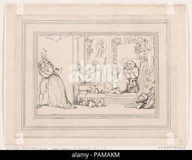 Comforts of Bath, Plate 6. Artist: Thomas Rowlandson (British, London 1757-1827 London). Dimensions: Sheet: 8 3/4 × 11 1/4 in. (22.3 × 28.5 cm)  Plate: 7 3/4 × 10 1/4 in. (19.7 × 26 cm). Series/Portfolio: Comforts of Bath. Date: January 6, 1798. Museum: Metropolitan Museum of Art, New York, USA. - Stock Photo