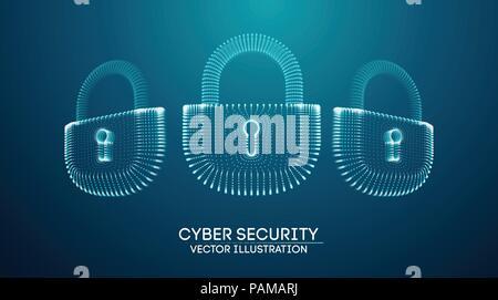 Coputer internet cyber security background. Cyber crime vector illustration. digital lock - Stock Photo