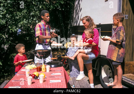 Family outside RV camping BBQ meal to eat in wilderness.  © Myrleen Pearson  .....Ferguson Cate - Stock Photo