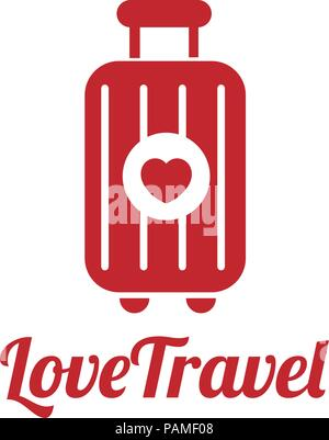 love traveler, Travel bag vector logo icon. love, Sea, summer and holiday symbol. Stock design elements - Stock Photo