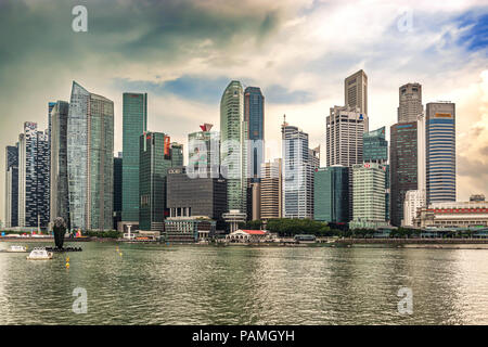 Singapore - Dec 30, 2017: Landscape view at downtown skyscrapers skyline as viewed from over Marina Bay in Singapore.