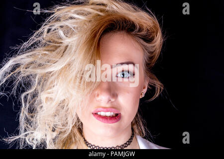 Messy hair, bad hair day, wild hair, untamed hair, out of control hair, funny hair, hair, messy, wild, bad, bad hair, style, hairstyle, unusual, - Stock Photo