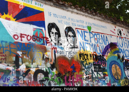 The John Lennon wall in Prague Czech Republic 2018 - Stock Photo