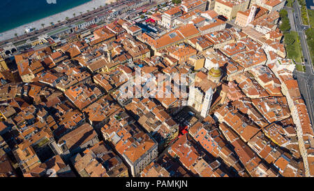 Aerial view of Old Town and Cathédrale Sainte-Réparate or Sainte-Réparate Cathedral, Nice, France - Stock Photo