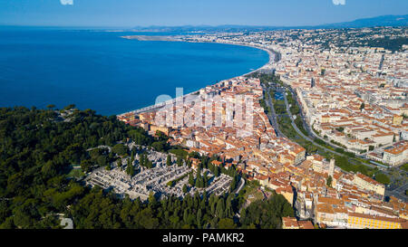 Castle Cemetery or  Cimetière du Château, overlooking the old town and the coast, Nice, France - Stock Photo