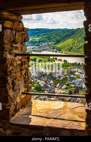 panoramic view out of a castle window over the village Alken an wineyards in the valley of River Mosel, Germany - Stock Photo
