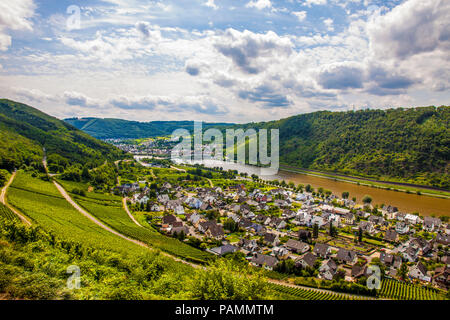 panoramic view over the village Alken an wineyards in the valley of River Mosel, Germany - Stock Photo