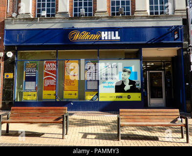 Basingstoke, United Kingdom - July 05 2018:   The frontage of William Hill Bookmakers in Winchester Street - Stock Photo