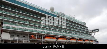 Zeebrugge, Belgium - April 28 2018:   The passenger decks and lifeboats of the P&O Cruise ship Azura - Stock Photo