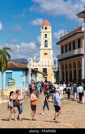 The Convento de San Francisco and Plaza Mayor in the UNESCO World Heritage town of Trinidad, Cuba. - Stock Photo