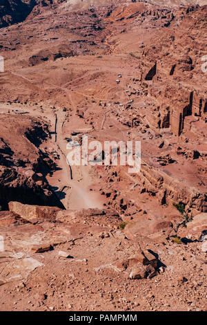 an aerial view of some of the rock face tombs in the Lost City of Petra, Jordan - Stock Photo