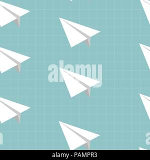 Seamless pattern with Paper airplane vector icon on copy-book. Back to school concept. - Stock Photo