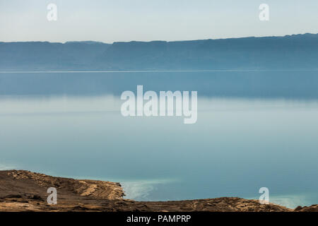 The Dead Sea as seen from the Jordanian side in the middle of summer - Stock Photo