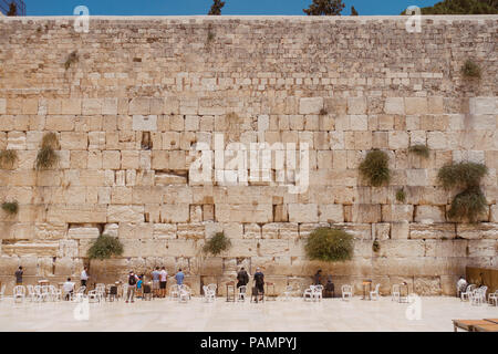a square-on view of the male section of the Wailing Wall, Jerusalem, Tel Aviv - Stock Photo