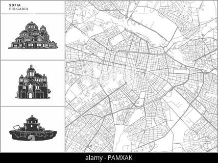 Sofia city map with hand-drawn architecture icons. All drawigns, map and background separated for easy color change. Easy repositioning in vector vers - Stock Photo