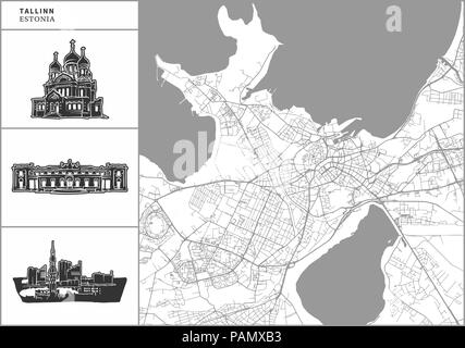Tallinn city map with hand-drawn architecture icons. All drawigns, map and background separated for easy color change. Easy repositioning in vector ve - Stock Photo