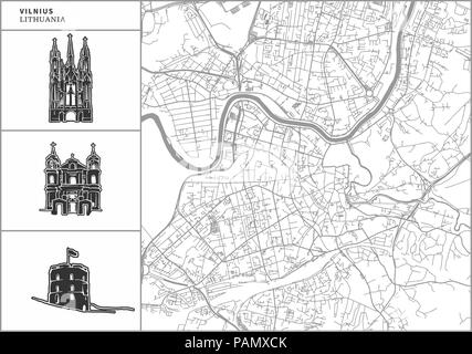 Vilnius city map with hand-drawn architecture icons. All drawigns, map and background separated for easy color change. Easy repositioning in vector ve - Stock Photo