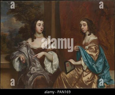 Mary Capel (1630-1715), Later Duchess of Beaufort, and Her Sister Elizabeth (1633-1678), Countess of Carnarvon. Artist: Sir Peter Lely (Pieter van der Faes) (British, Soest 1618-1680 London). Dimensions: 51 1/4 x 67 in. (130.2 x 170.2 cm).  Lely was influenced by Anthony van Dyck and perhaps hoped to succeed him. He was admired and patronized by the Capel family and some of his best work, including this double portrait, was installed at their country house, Cassiobury Park. The colorful and elaborate draperies and the supple handling of the flesh tones are characteristic. The high quality fram - Stock Photo
