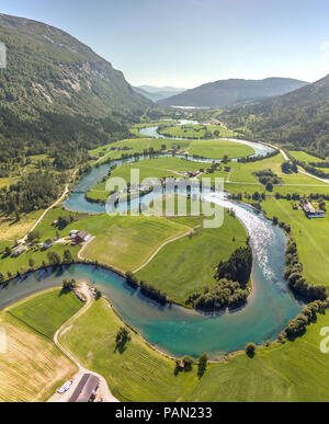 The meandering River Stryn in Norway - Stock Photo