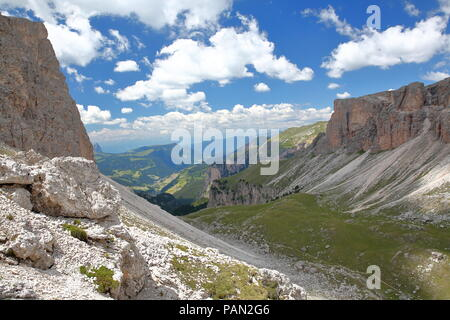 Limestone pillars and rock formations above Val de Chedul viewed from Cir mountains in Puez Odle Natural Park, Val Gardena, Dolomites, Italy - Stock Photo