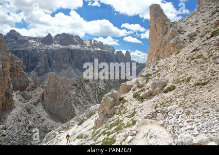 Limestone pillars and rock formations (lunar landscape) viewed from Cir mountains in Puez Odle Natural Park, Val Gardena, Dolomites, Italy - Stock Photo
