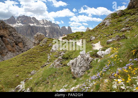 Sella Group mountains viewed from a hiking path in Puez Odle Natural Park, Val Gardena, Dolomites, Italy - Stock Photo