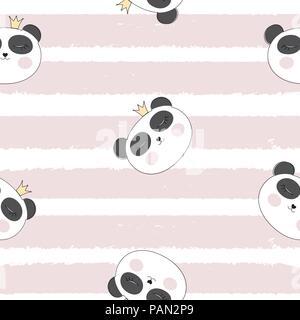 Little Cute Pamda Princess Seamless Pattern Background Vector Illustration - Stock Photo