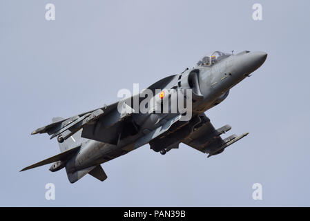 Spanish Navy McDonnell Douglas AV-8B Harrier II Matador jump jet fighter plane displaying at the Farnborough International Airshow, FIA 2018. V/STOL. - Stock Photo