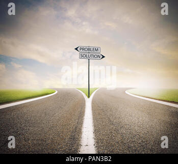 Problem and solution way. Choose the right way - Stock Photo