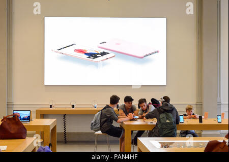 FLORENCE, ITALY - MAY 6, 2016: Apple store at the Piazza della Republica in Florence, Italy. Apple is the multinational technology company headquarter - Stock Photo