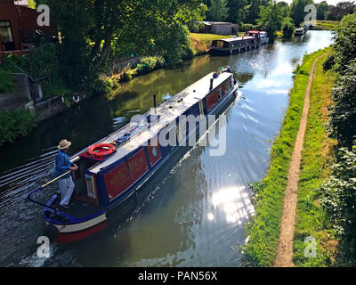 Canal boat at Grappenhall, South Warrington, Cheshire, North West England, UK - Stock Photo