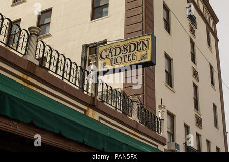 Sign on side of hotel Douglas AZ Released - Stock Photo